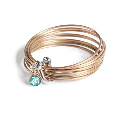 Bronze Multi Bangle Shackle Bracelet - Mini Charm