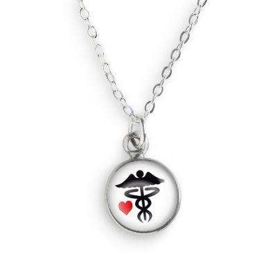 Pewter Caduceus Mini Necklace