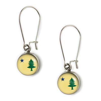 Flag Pewter Mini Dangle Earrings