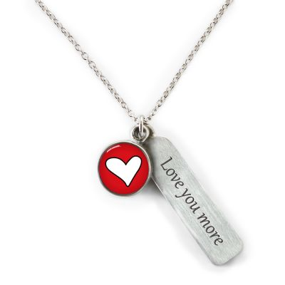 Peace & Love Pewter Mini Necklace w/ Tag