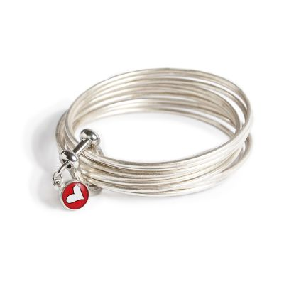 Peace & Love Pewter Multi Bangle Shackle Bracelet - Mini Charm