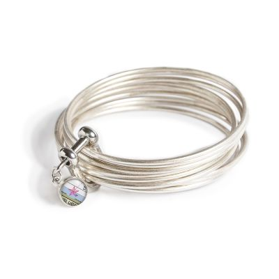 Pewter Multi Bangle Shackle Bracelet - Mini Charm