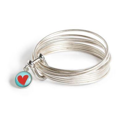 Peace & Love Pewter Multi Bangle Shackle Bracelet - XS Charm