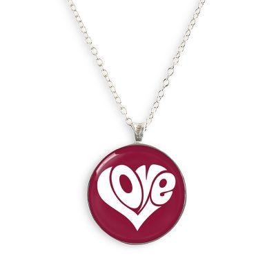 Peace & Love Silver Small Necklace