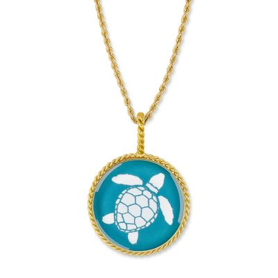 "Correa/CHART GOLD 1"" Sea Turtle Necklace Pendant"