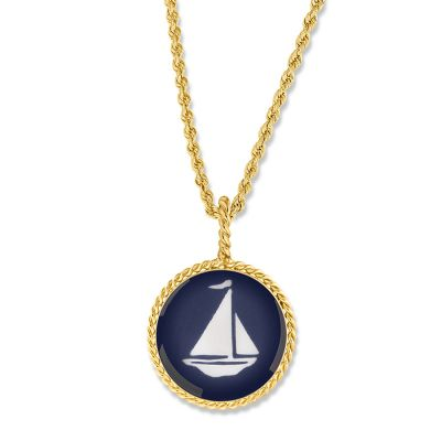 "Correa/CHART Gold 3/4"" Sailboat Necklace Pendant"