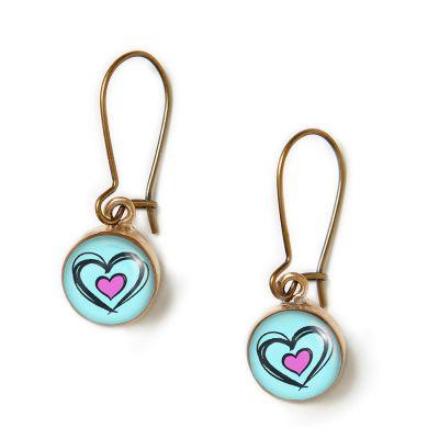 Peace & Love Bronze Mini Dangle Earrings