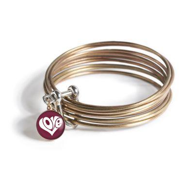 Peace & Love Bronze Multi Bangle Shackle Bracelet - XS Charm