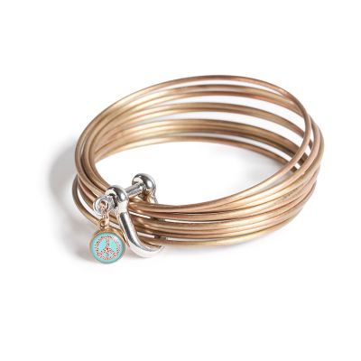 Peace & Love Bronze Multi Bangle Shackle Bracelet - Mini Charm