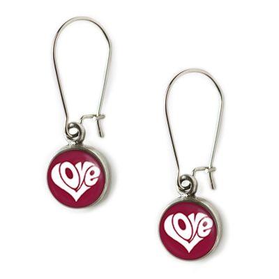 Peace & Love Pewter Mini Dangle Earrings
