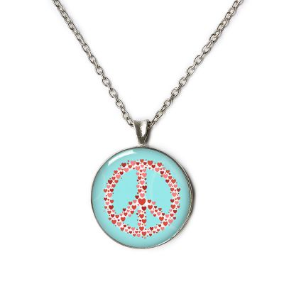 Peace & Love Pewter Small Necklace