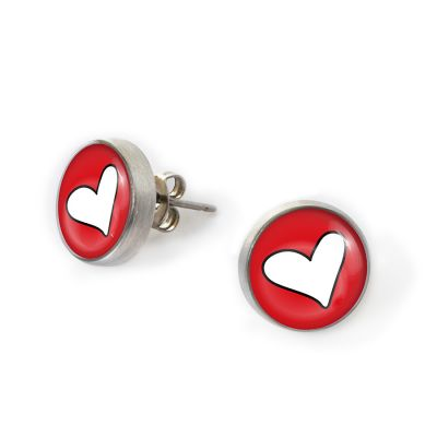 Peace & Love Pewter Mini Stud Earrings