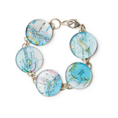 5 Charm Silver Link Bracelet