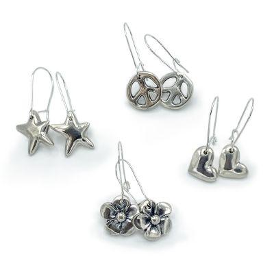 Silver Cast Dangle Earrings