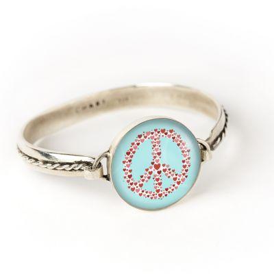 Peace & Love Silver Hook Cord Bracelet