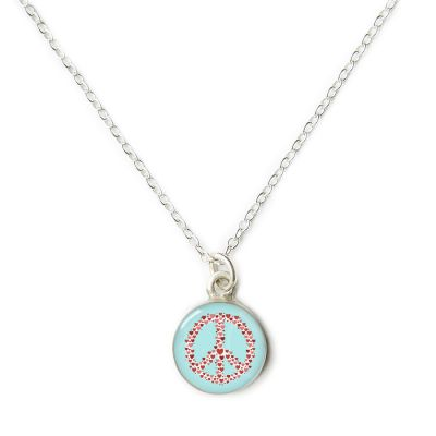 Peace & Love Silver Mini Necklace