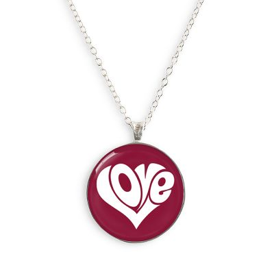 Peace & Love Silver Small Necklace
